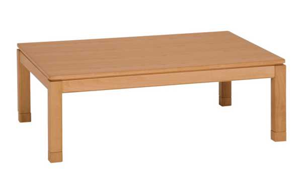 家具調こたつ コタツテーブル 120幅、長方形 シェルタ ナチュラル色