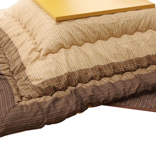 長方形こたつ厚掛敷布団セット ~120センチ巾長方形こたつ用 ブラウン系色(掛布団サイズ:205×245)