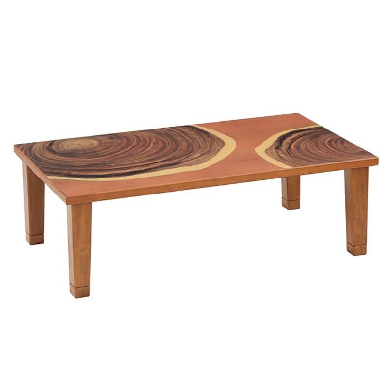 こたつテーブル 長方形幅120センチ Fピンク&年輪 ピンク色 家具調コタツ ローテーブル