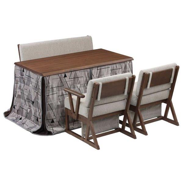 ハイタイプこたつテーブルセット/ダイニングコタツ グレン 135センチ幅長方形こたつ+ソファー+肘付椅子2点+布団の5点セット ダークブラウン色