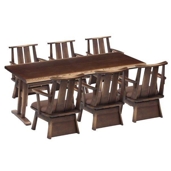 ハイタイプこたつ/ダイニングコタツ こたつ日向(ひゅうが)180 180センチ幅、長方形+肘付回転椅子6脚の7点セット ダークブラウン色