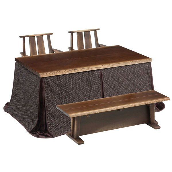 ハイタイプこたつ/ダイニングコタツ こたつ日向(ひゅうが)150 150センチ幅、長方形+肘付回転椅子2脚+ベンチ+掛け布団の5点セット ダークブラウン色