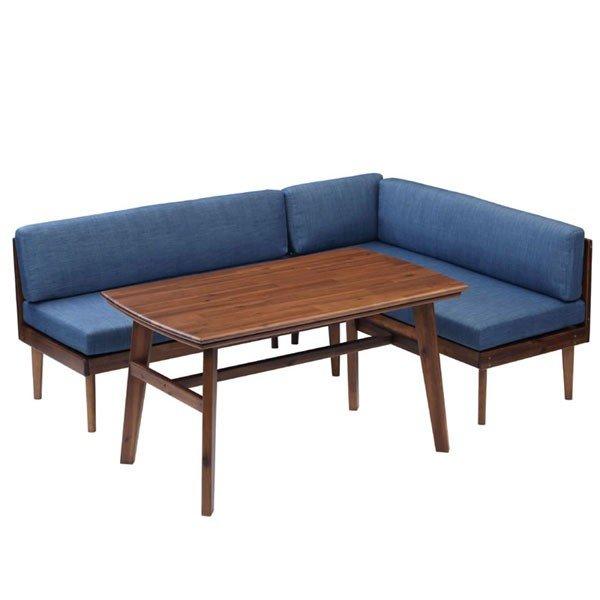 ハイタイプこたつテーブルセット/ダイニングコタツ ジェイク 120センチ幅長方形こたつ+ソファー2点の3点セット ライトブラウン色