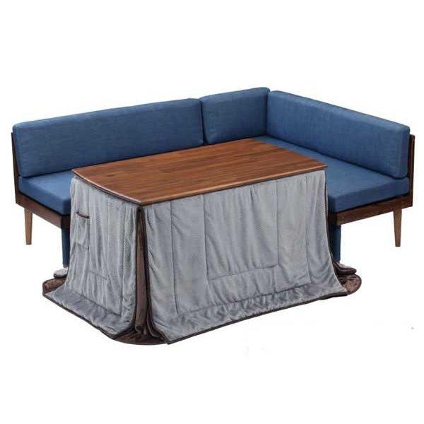 ハイタイプこたつテーブルセット/ダイニングコタツ ジェイク 120センチ幅長方形こたつ+ソファー2点+布団の4点セット ライトブラウン色