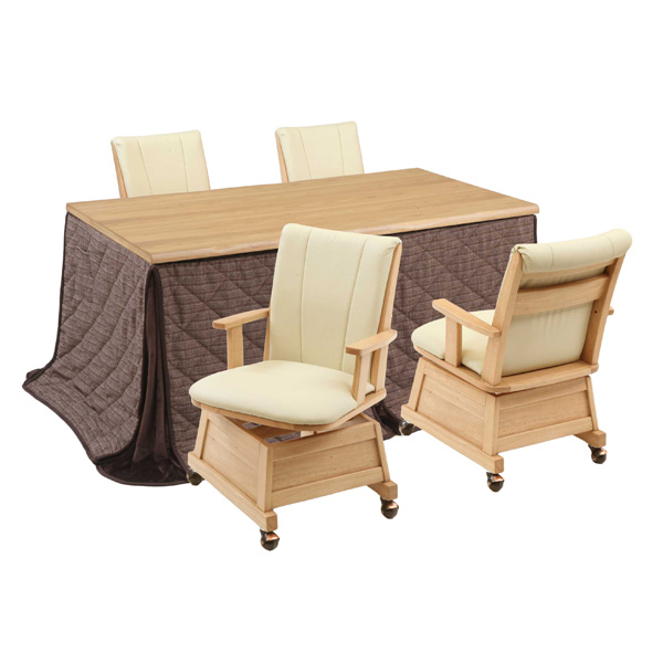 ハイタイプ高脚こたつ/ダイニングコタツ こたつ楓(かえで)150センチ幅、長方形+肘付椅子4脚+布団の6点セット ナチュラル色