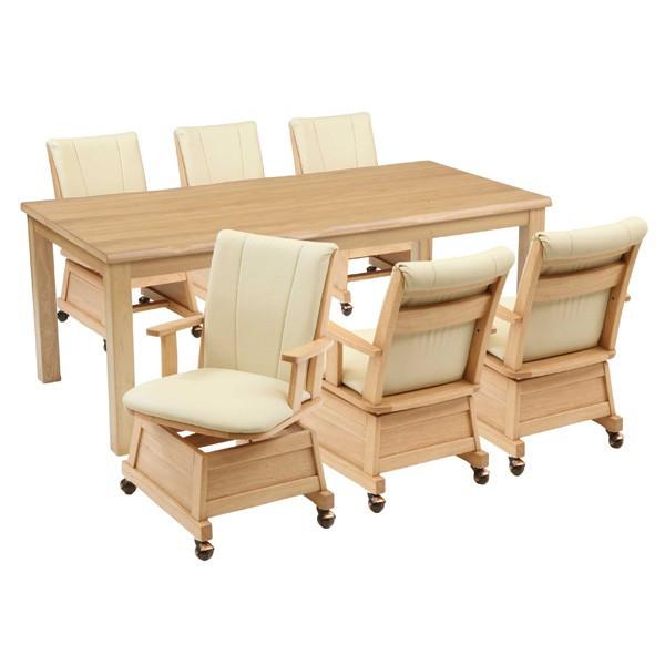 ハイタイプ高脚こたつ/ダイニングコタツ こたつ楓(かえで)180センチ幅、長方形+肘付椅子6脚の7点セット ナチュラル色