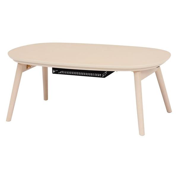 折れ脚こたつ コタツテーブル 楕円形90幅 家具調コタツ カルミナ950WS ウォッシュホワイト色