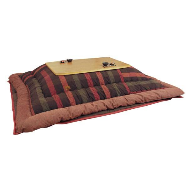 こたつ布団 105~120センチ巾こたつ用 KF-388 和風格子柄 長方形こたつ掛け布団(掛け敷きセット) 国産品