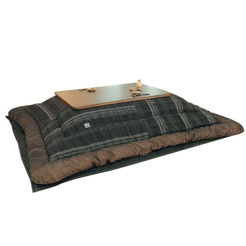 こたつ布団 180センチ巾こたつ用 KF-389 オーガニックコットン和風格子柄 長方形こたつ布団(掛敷セット) 国産品