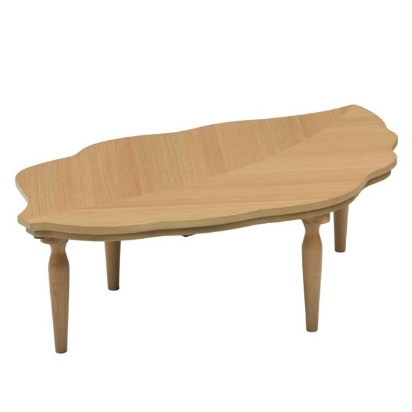 こたつテーブル 120幅木の葉型 キャロル120 ナチュラル色 天然杢オーク突板 コタツ 国産品