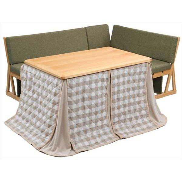ハイタイプこたつテーブルセット/ダイニングコタツ N-クリア 120センチ幅長方形こたつ+ソファー2点+布団(CL)の4点セット ライトブラウン色