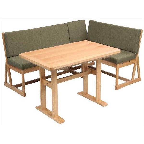 ハイタイプこたつテーブルセット/ダイニングコタツ N-クリア 120センチ幅長方形こたつ+ソファー2点の3点セット ライトブラウン色