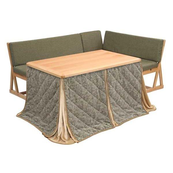 ハイタイプこたつテーブルセット/ダイニングコタツ N-クリア 120センチ幅長方形こたつ+ソファー2点+布団(SCL)の4点セット ライトブラウン色