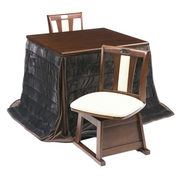 ハイタイプ高脚こたつ/ダイニングコタツ こたつナイン80センチ幅、正方形+椅子2脚+布団の4点セット ダークブラウン色