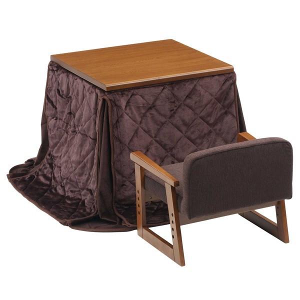 ハイタイプ高脚こたつ/ダイニングコタツセット 1人用 ミニタイプ ぬくもり 布団・椅子付3点BR テーブル61×58ブラウン色+椅子+掛け布団3点セット