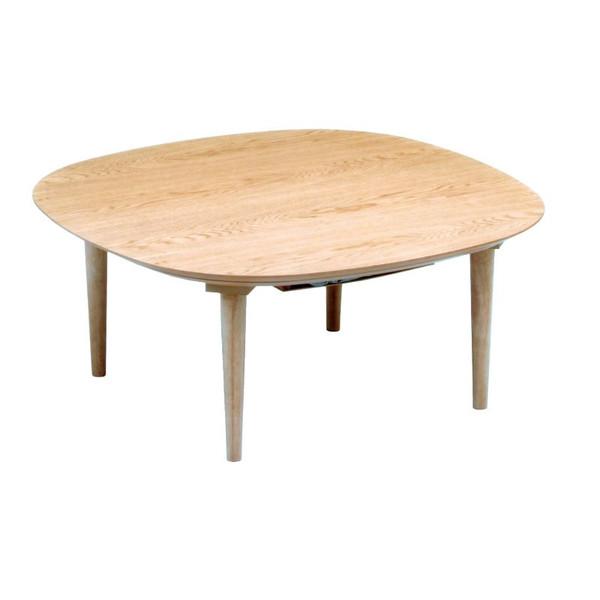 こたつ コタツテーブル モダンタイプこたつテーブル 90巾変型 オーガ90(タモ)