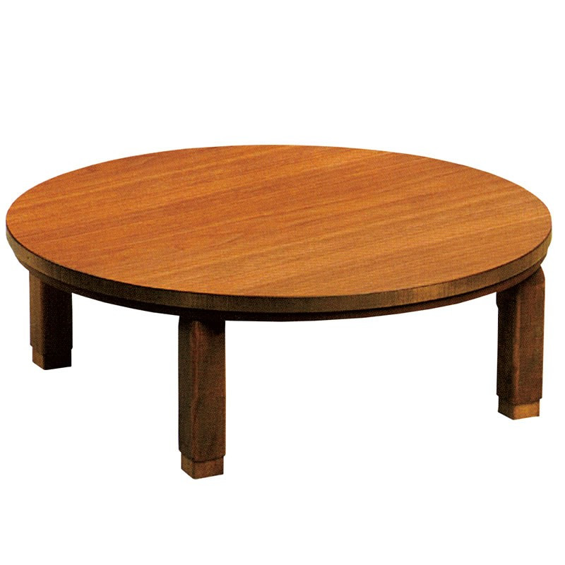 折れ脚こたつテーブル オールシーズン家具調コタツ 円形90巾 プレーヌ90丸 国産品
