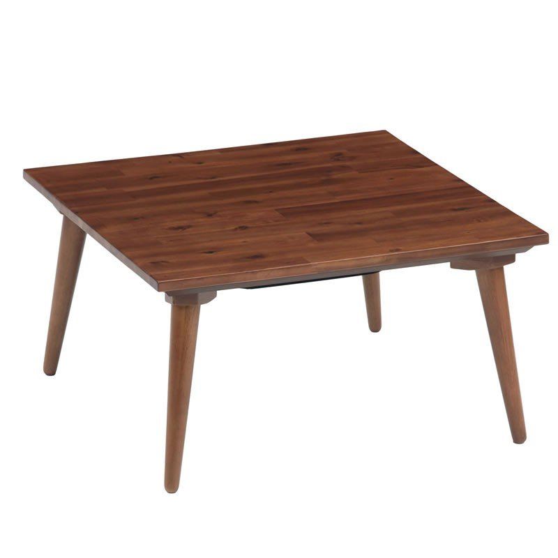 こたつテーブル 正方形幅70×70センチ ルーク ブラウン色 家具調コタツ ローテーブル