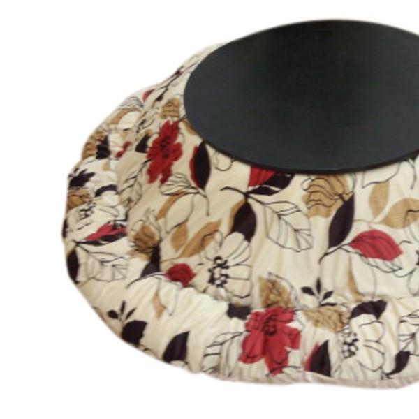 国産円形こたつ布団(掛単品) 80~90丸型こたつ用厚掛ふとん シャイナ ベージュ色 大花柄
