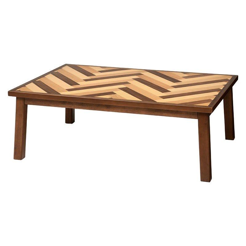 こたつ 120幅長方形 コタツテーブル ウェイブ120 天然杢突板ミックス寄せ張り