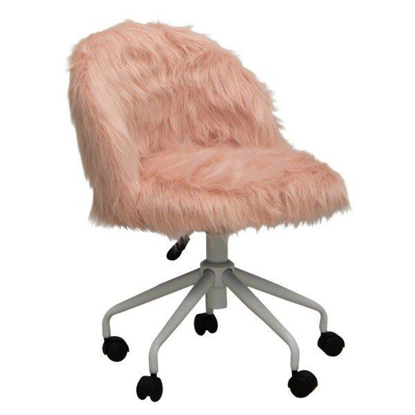 オフィス、ワークチェア モコモコ布張り回転デスクチェア CL-216PI ピンク色