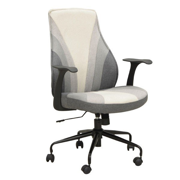 オフィス、ワークチェア 肘掛付布張り回転デスクチェア CL-307GY グレー色