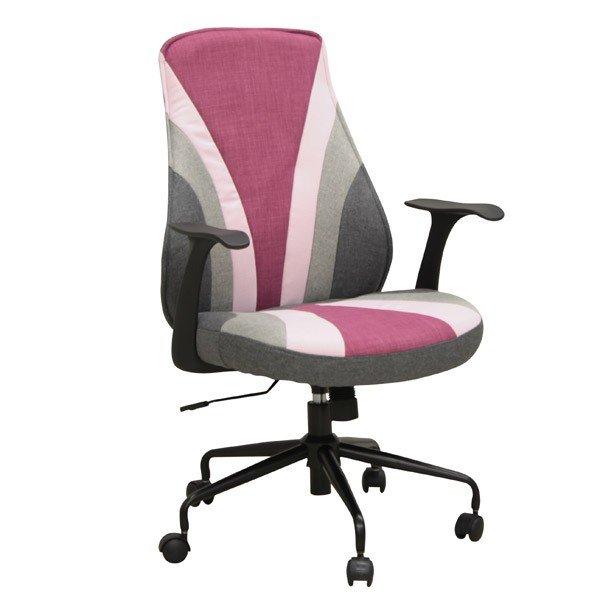 オフィス、ワークチェア 肘掛付布張り回転デスクチェア CL-307PI ピンク色