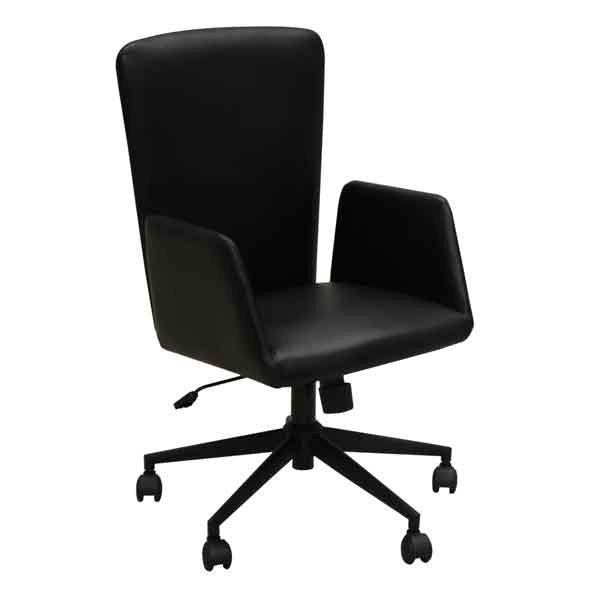オフィス、ワークチェア 肘掛付き 合成皮革張り回転デスクチェア CW-173BK ブラック色