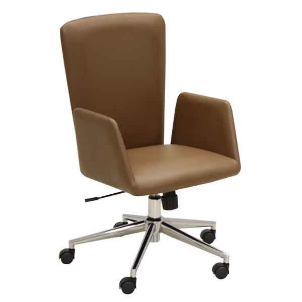 オフィス、ワークチェア 肘掛付き 合成皮革張り回転デスクチェア CW-173BR ブラウン色