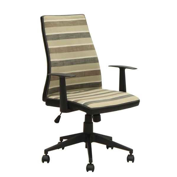 オフィス、ワークチェア 肘掛付き 布張り回転デスクチェア CX-010BR ブラウン色