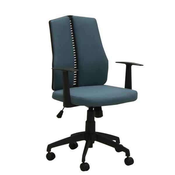 オフィス、ワークチェア 肘掛付布張り回転デスクチェア CX-126B-BL ブルー色