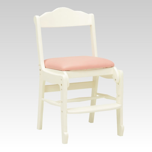 ホワイトデスクチェア ロクロ脚 優美な白色椅子 アンティーク風 ロココ調デザイン 彫刻入り 完成品