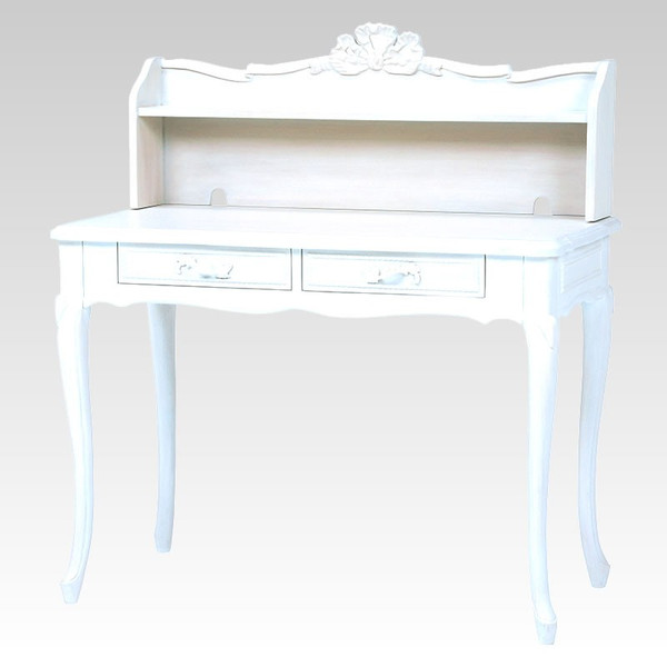 猫脚ホワイトパソコンデスク 優美な白色机 アンティーク風 ロココ調デザイン 彫刻入り
