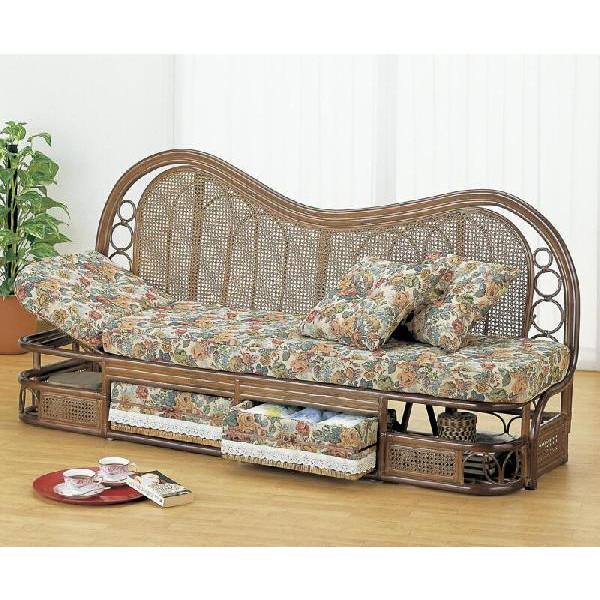 籐椅子 ラタンソファー&カウチ カウチソファー巾165 Y-613B アジアンテイスト