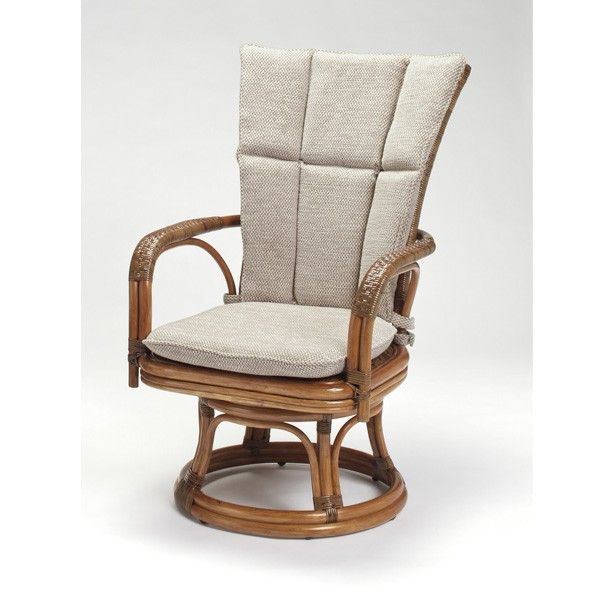 籐肘掛回転椅子 ラタンハイバックシーベルチェア 布張り着脱クッション仕様 デリシア ウォールナット色フレーム アジアンテイスト