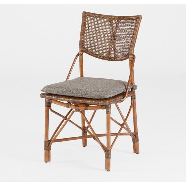 籐肘無食堂椅子 ラタンダイニングチェア エルフアームレス アンティークブラウン色 布張り アジアンテイスト