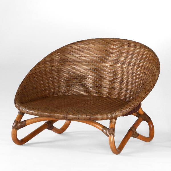 籐椅子 ラタンチェア ローチェア ティア アンティークブラウン色フレーム アジアンテイスト