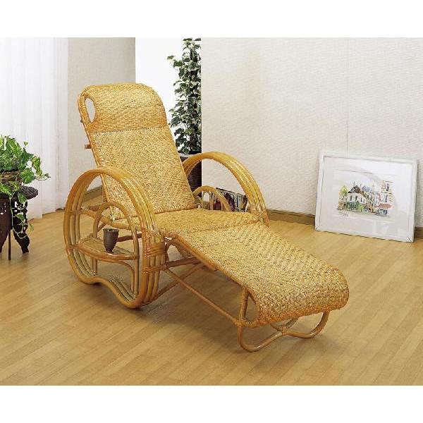 籐椅子 ラタン三つ折寝椅子 リクライニングチェア ナチュラル色 A-200 ☆連休中も発送致します。