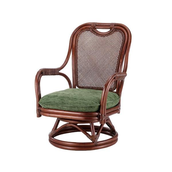 籐椅子 ラタンチェア ハイバック肘掛付回転チェア ダークブラウン色 座面の高さ33センチ アジアンテイスト