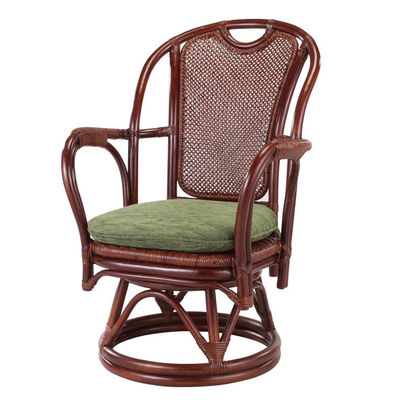 籐椅子 ラタンチェア ハイバック肘掛付回転チェア ダークブラウン色 座面の高さ38センチ アジアンテイスト