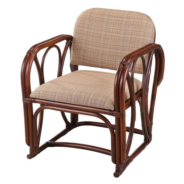 籐椅子 ラタンチェア 肘掛椅子 ダークブラウン色 アジアンテイスト アームチェア 座面高さ38センチ