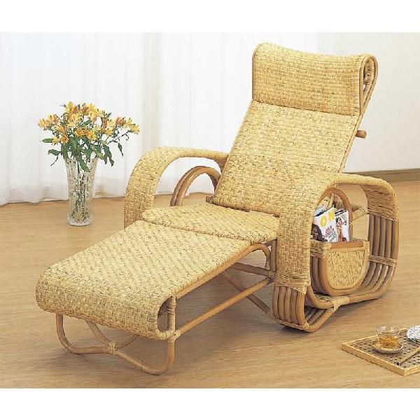 籐椅子 ラタン三つ折寝椅子 リクライニングチェア A107 アジアンテイスト 足置き付リクライニングチェア