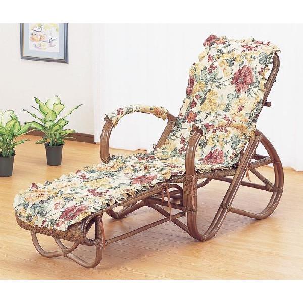 籐椅子 ラタン三つ折寝椅子 リクライニングチェア A111B 一年中使えるカバー付き