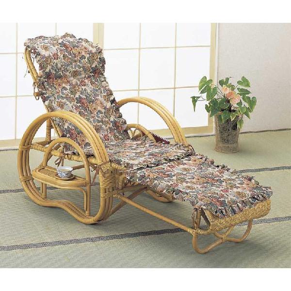籐椅子 ラタン三つ折寝椅子 リクライニングチェア カバー付き A-200CPM