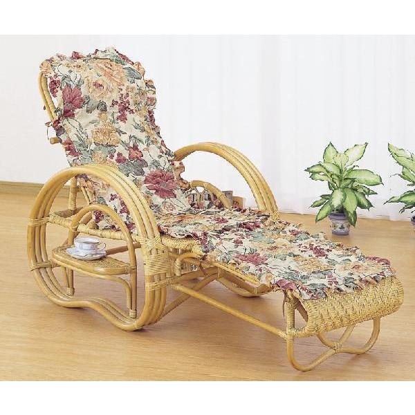 籐椅子 ラタン三つ折寝椅子 リクライニングチェア カバー付き A-200M