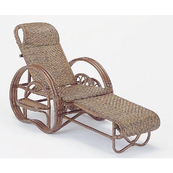 籐椅子 ラタン三つ折寝椅子 リクライニングチェア ダークブラウン色 A202B