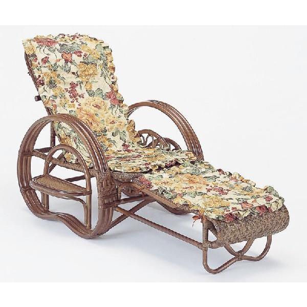 籐椅子 ラタン三つ折寝椅子 リクライニングチェア カバー付き ダークブラウン色 a202bm
