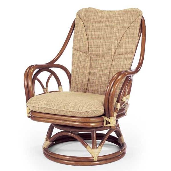 籐椅子 ラタンチェア ハイバック回転チェア ダークブラウン色 アジアンテイスト A228DF ブルース
