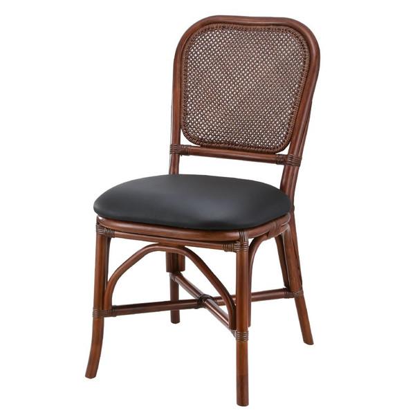 籐椅子 ラタンダイニングチェア 合成皮革張り ダークブラウン色 アジアンテイスト