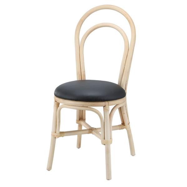 籐椅子 ラタンダイニングチェア 合成皮革張り ナチュラル色 アジアンテイスト